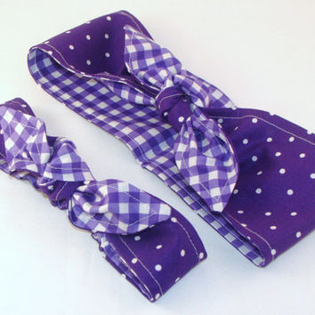 Rockabilly Mommy and Me Matching Purple Polka Dots over Purple Gingham Head Scarfs Pinup Women Infant Toddler Baby Headband Hair Accessory
