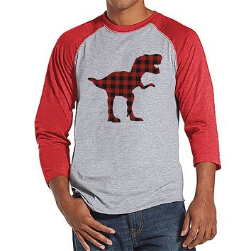 Men's Dinosaur Shirt - Buffalo Plaid Dino Red Raglan - Funny Mens Shirts - Plaid Dinosaur Shirt - Dinosaur Gift Idea for Him - Dino Lover