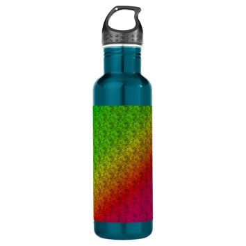 Colorful Diagonal Stripes and Flowers – 2 24oz Water Bottle