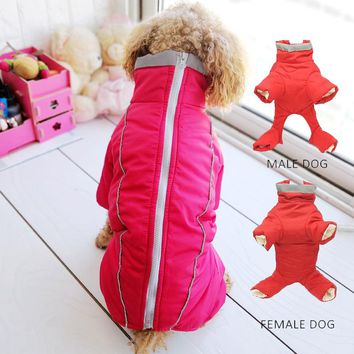 Winter Pet Down Pajamas Small Dog Overall Clothing Refective Snow Autumn Costume Outdoor Puppy Animal Chihuahua