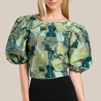 Puff Sleeve Print Blouse Sexy V Back Women Multi color Zip Back Crop Tops New Elegant Slim Tunic Blouse