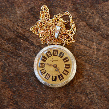 Vintage Watch Pendant Necklace Wind Up Burgana Swiss Made Gold Tone Reversible Does Not Work 1960's // Vintage Costume Jewelry