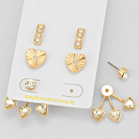 Heart Drop Earring Set Gold