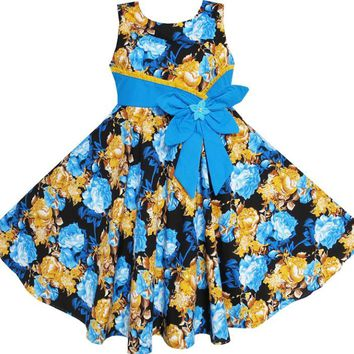 Sunny Fashion Flower Girl Dress Bohemia Gold Blue Bow Tie Everyday Summer Clothes Kids Cotton 2018 Summer Princess Size 6-12