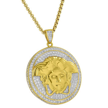 Medusa Face Pendant Round Coin Charm 18K Gold Plate Box Chain Simulated Diamonds