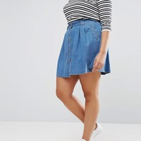 ASOS CURVE Denim Button Front Mini Skater Skirt In Mid Wash Blue at asos.com