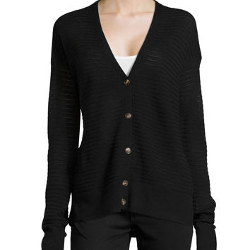 Women's Stitched V-Neck Cardigan - Halston Heritage - Black (X-SMALL)