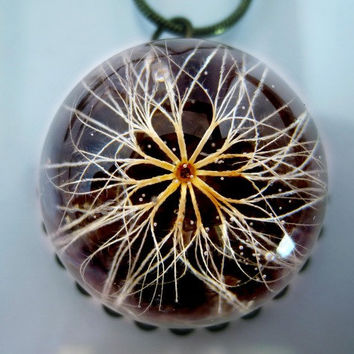 Flower of the Sun Necklace Protection charm: real flower, resin, legend, magical, dandelion