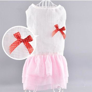 DCCKH6B Pet Dog Clothes Summer Dog Dress Princess Skirt Chiffon Dresses Clothing for Dogs Poodle yorkies clothes