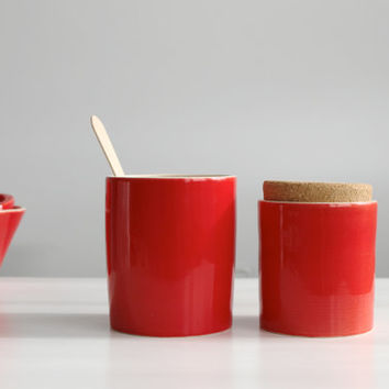 Red ceramic vase and canister set Two red set Kitchen Office Home decor - Ready to ship
