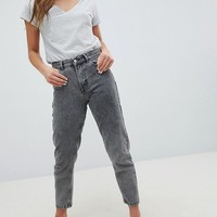 Pull&Bear Mom Jeans In Washed Gray at asos.com