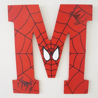Hand Drawn and Hand Painted Spider-Man Wall Letter Red White Black Spiders Marvel Superhero Boys Kids Decor