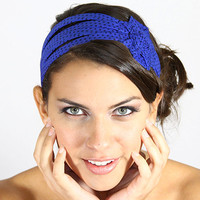 polka dot blue headband, blue flower headband, wide cotton headband