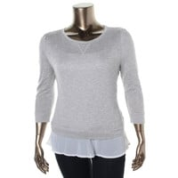 INC Womens Metallic Chiffon Trim Pullover Top
