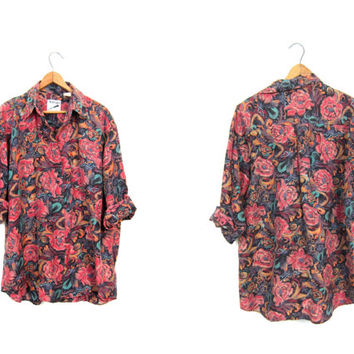 Vintage Silk Blouse 90s Floral Button Up Silk Top Long Sleeve Slouchy Shirt Pink Abstract Minimal Top Button Down Blouse Womens Small Medium