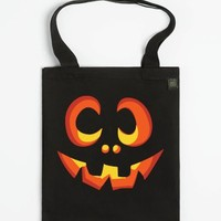 Pumpkin Face (tote)-Unisex Black Tote Bag