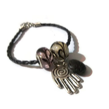 Hamsa Hand Aromatherapy Bracelet Essential Oil Diffuser Lava Rock Bracelet Spiritual Totem For Protection Well Being Dangle Charm Bracelet