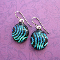 Striped Green Niobium Earrings for Very Sensitive Ears, Fused Glass Jewelry, Metal Sensitive Jewelry - Bella - 2344 -4