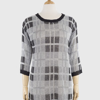 Knit Checkered Top