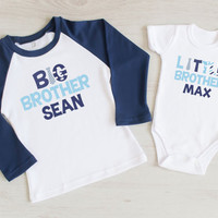 Set of Two Personalized Big Brother and Little Brother Shirts. Sibling Shirts. New Baby Announcement. Cute Brother Outfits. Big Bro Lil Bro