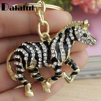 ICIKFV3 Dalaful 2017 Black Zebra Horse Crystal Rhinestone Metal Bag Pendant Key chains Holder women Keyrings Keychains For Car K180
