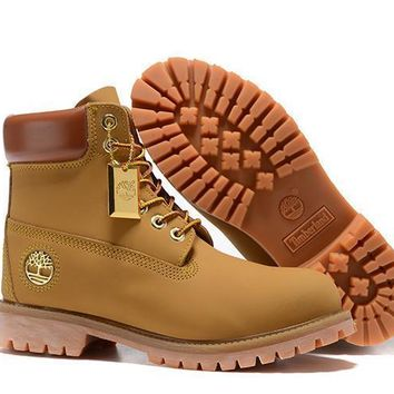 Timberland Women's 6 Inch Smooth Boot - Wheat Gold Logo Outlet