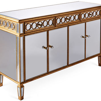 Console Gabriel Mirrored  Cabinet, Gold, Buffets & Sideboards