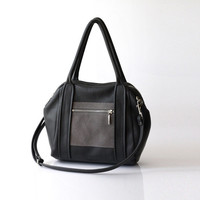 Gray Leather handbag - OPELLE l. Liria Duffel - Soft Pebbled Leather w Zipper Pockets in Iron