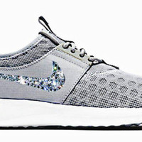 Blinged Grey Nike Juvenate, Bling Nikes, Custom Nikes, blinged out nikes, Blinged out shoes, Nike free swarovski, Nike Shoes, Womens Nikes
