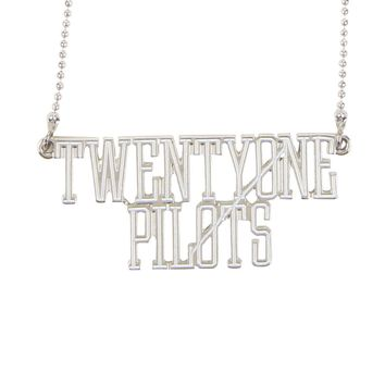 "Licensed cool 21 Twenty One Pilots Band Name LOGO 2""x3/4"" Nameplate Necklace Silver Tone NEW"