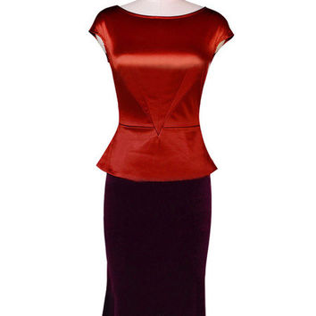 Color Block Peplum Ruched Knee-Length Cotton Dress