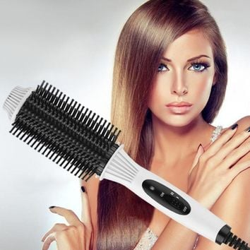 Multifunctional 2 in1 Electric Straightener Curler Hair Comb Anti-scald Curling Irons Hair Curler Comb Styling Tools Hot Selling