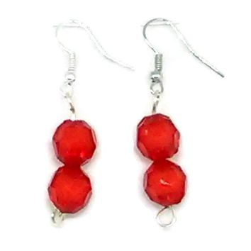 Red Faceted Double Bead Earrings