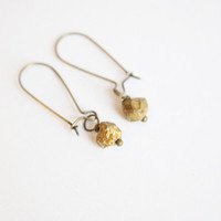 Gold nugget crystal antique brass earrings, simple, natural, gem, mineral crystal unique eco friendlyRaw Crystal Quartz 18k