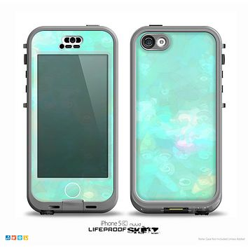 The Bright Teal WaterColor Panel Skin for the iPhone 5c nüüd LifeProof Case