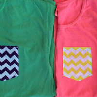 Colorful Chevron Pocket Comfort Colors Tees and Tanks