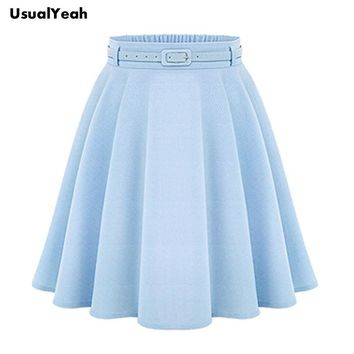 2017 A Line Flare Pleated Fashion Street Style Women Solid Black Plain Casual Vintage Midi Skirt with Belt blue black
