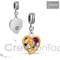 Charm for any Pandora bracelet Two tones heart Tinkerbell