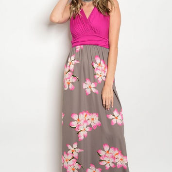 FUCHSIA OLIVE FLORAL DRESS