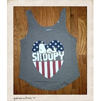 Mighty Fine Vintage Inspired Womens Snoopy USA Heart Tank Top