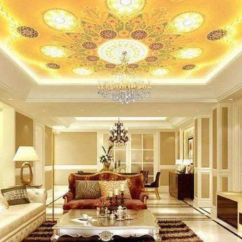 3D wallpaper custom mural beauty non-woven Luxury solid gold ceiling chandeliers background wallpaper
