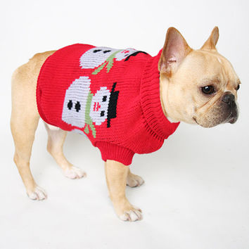 Snowmen Knit Holiday Puppy Dog Sweater, Ugly Christmas Pet Kitty Cat Kitten Sweater Jumper by Burger And Friends / Small Fry Collection