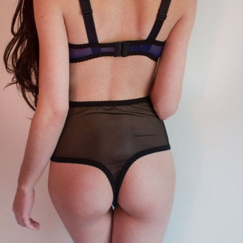 The Ingrid mesh high waist thong panty by Kayleigh Peddie