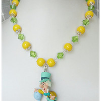 Mad Hatter Necklace, Green and Yellow, Silver Plated - Alice in Wonderland, Kawaii Jewelry
