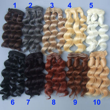 15cm curly wigs hair for doll  brown black color Hair Natural Color braided Wigs for BJD