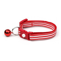 Striped Cat Collar - Horizontal Red and White Stripes  - Small Cat / Kitten Size or Large Size