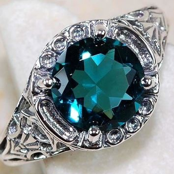 1CT London Blue Topaz 925 Solid Sterling Silver Art Deco Filigree Ring Sz 6-10