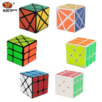 3Pcs/ Set YongJun YJ Magic Cube 3x3x3 Fisher Cube & 2x2x2 Hot Wind Wheel Magic Cube & Fluctuation Angle Axis Cube Puzzle Toy -48