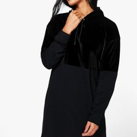 Abbey Velvet Colour Block Sweatshirt Dress | Boohoo