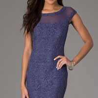 Knee Length Cap Sleeve Lace Dress